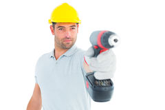 Handyman using power drill Stock Photo