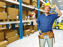 Handyman in warehouse Stock Photos