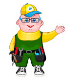 Handyman wearing work clothes vector illustration