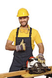 Handyman work with grinder. Positive manual worker smile and show thumb up isolated on white Stock Images