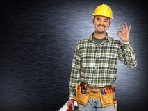 Handymana on metal background Stock Images