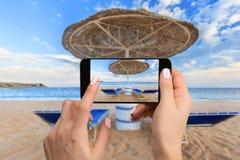 Handyphotographie einer breiten Ansicht des Strandes horizontal Lizenzfreie Stockfotografie