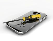 Handyreparatur Abbildung 3D Defekter Handy mit Schraubenzieher Reparieren Sie elektronische Ausrüstung stock abbildung