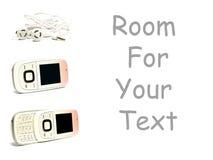 Handys eingestellt und auf Weiß mit Platz für Text Stockfotos