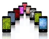 Handys mit verschiedenen abstrakten Beschaffenheiten Stockbild