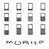 Handysammlung einfarbige Symbole Lizenzfreie Stockfotografie