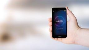 Handyschritte widersprechen auf der Hand der user?s stockfotos