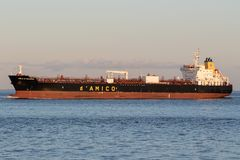 CIELO DI SALERNO. Handysize product tanker CIELO DI SALERNO on the river Elbe. d'Amico International Shipping is listed since 2007 on the Milan Stock royalty free stock photography