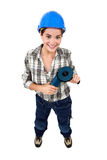 Handywoman with disc grinder Stock Images