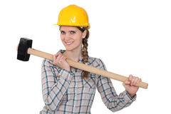 Handywoman holding hammer Stock Photos
