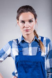 Handywoman ready to work Royalty Free Stock Photos