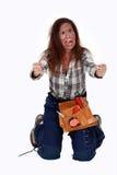 A handywoman suffering electrical shock. Handywoman suffering electrical shock contact Stock Photos