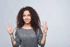 Handzählung - acht Finger Stockfotos
