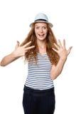 Handzählung - acht Finger Lizenzfreie Stockfotografie