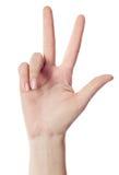 Handzählung - drei Finger Stockfotografie