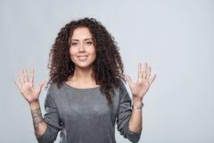 Handzählung - neun Finger Lizenzfreies Stockfoto
