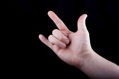Handzeichen, das ich liebe dich darstellt Stockbild
