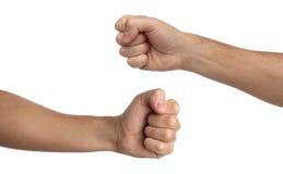 Handzeichen Durchschlagsfaust lokalisiert auf Weiß Stockfotos