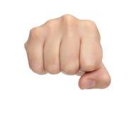 Handzeichen Durchschlagsfaust lokalisiert auf Weiß Lizenzfreie Stockbilder