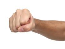 Handzeichen Durchschlagsfaust lokalisiert auf Weiß Stockbild
