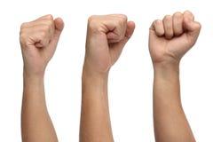 Handzeichen Durchschlagsfaust lokalisiert auf Weiß Lizenzfreie Stockfotos