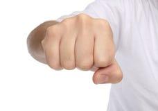 Handzeichen Durchschlagsfaust lokalisiert auf Weiß Lizenzfreie Stockfotografie