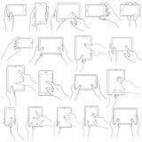 Handzeichen für mit Berührungseingabe Bildschirm lizenzfreie abbildung