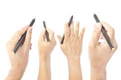 Handzeichen mit Stift Stockfotografie