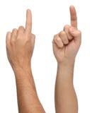 Handzeichen Zeigen oder etwas berührend Stockfoto