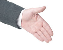 Handzeichenhändedruck Getrennt auf weißem Hintergrund cliping PA Stockbild