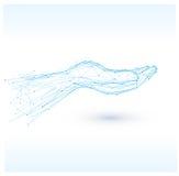 Handzeichenikone Polygonale blaue Hände Stockfoto