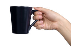 Handzeichenlagegriffschwarzglas lokalisiert Stockfoto