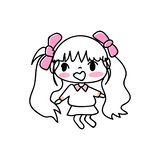 Handzeichnender Zeichentrickfilm-Figur-Mädchenausdruck stock abbildung