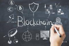 Handzeichnung blockchain Gekritzel stockfotos