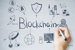 Handzeichnung blockchain Skizze Stockbilder