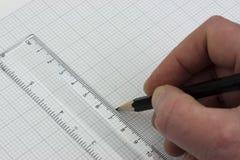 Handzeichnung im Zeichenpapier mit Maßeinteilung Stockfotos