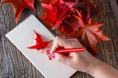 Handzeichnung mit Stift und Notizbuch Stockfoto