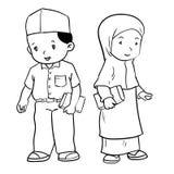 Handzeichnung moslemische Studentvektor-Illustration Stockbilder