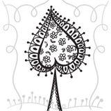 Handzeichnung zentangle Element mit dekorativem Rahmen Dekorativer abstrakter Baum Kartenspaten Lizenzfreie Stockfotos