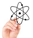 Handzeichnungs-Atomikone auf weißem Hintergrund Lizenzfreies Stockbild