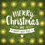 Handzeichnungs-Grußkarte der frohen Weihnachten Stockfotografie