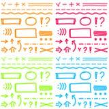 Handzeichnungs-Leuchtmarkerelemente für ausgewähltes und Lizenzfreie Stockfotos