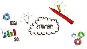 Handzeichnungs-Strategiegeistesblitz mit Gekritzeln stock footage