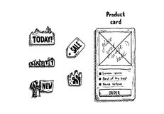 Handzeichnungs-Zeichensatz für Shop auf weißem Hintergrund Auch im corel abgehobenen Betrag Stockfotografie