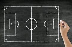 Handzeichnungsfußballplatz Stockfotos
