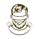 Handzeichnungshippie-Frisurenlogodesign Auch im corel abgehobenen Betrag lizenzfreie abbildung