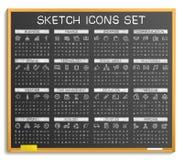 Handzeichnungslinie Ikonen Vektorgekritzel-Piktogrammsatz, Kreideskizzen-Zeichenillustration auf Tafel Stockfotos