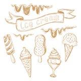 Handzeichnungssatz Eiscreme Stockfoto
