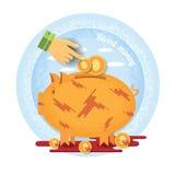 Handzeiger setzte sich in Münze im blutigen Sparschweinstand in der Blutlache blutige Geldikone auf blauem Kreis Stockfoto