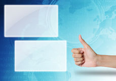 Hane like icon on blue technology background. Stock Photos